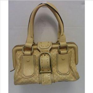 CELINE  peach perforated leather frame satchel